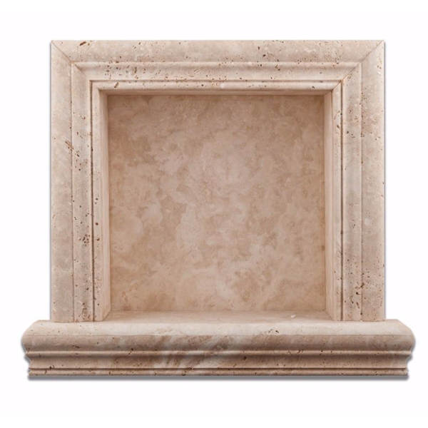 Ivory Light Travertine Hand-Made Custom Shampoo Niche / Shelf SMALL - Badget Marble