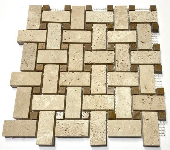 Ivory Travertine Basketweave Mosaic Tile with Noche Dots - Budget Marble