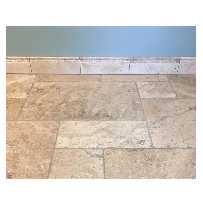 "Noce Travertine 5"" x 12"" Baseboard Trim Molding - Budget Marble"