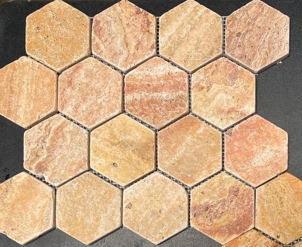 Scabos Travertine 3'' Hexagon Mosaic Tile Tumbled Budget Marble