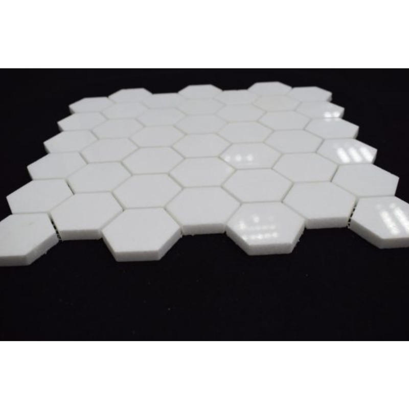 Thassos White Greek Marble 2 inch Hexagon Mosaic Tile - Budget Marble