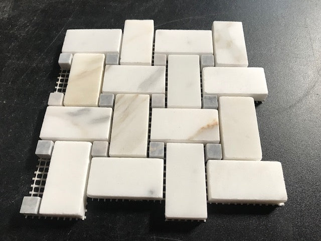 Calacatta Gold Calcutta Marble Basketweave Mosaic Tile with Grey Dots Sample