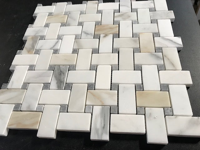 Calacatta Gold Calcutta Marble Basketweave Mosaic Tile with Grey Dots