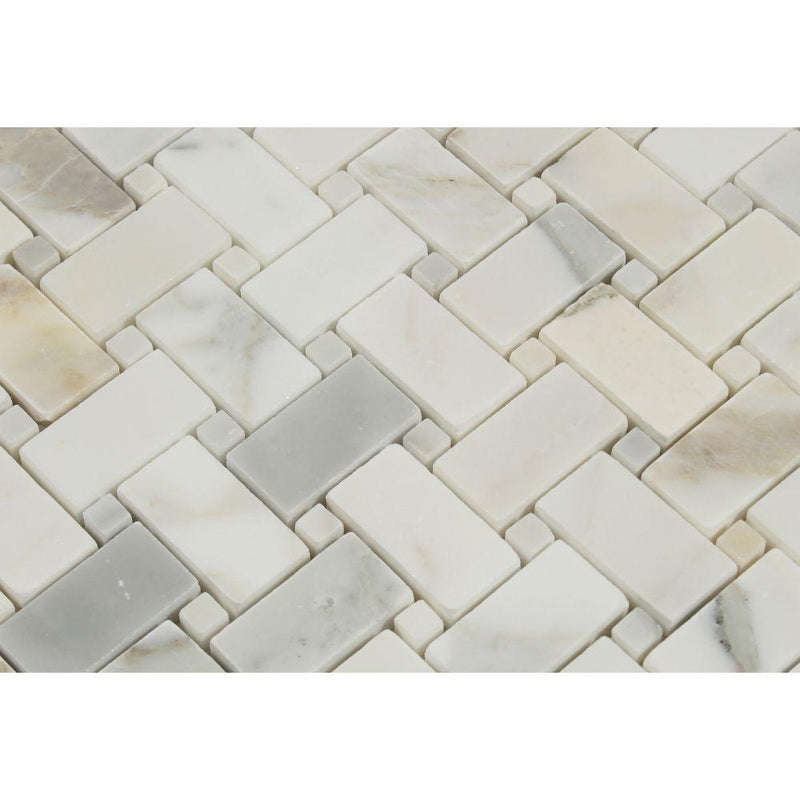 Calacatta Gold Calcutta Marble Basketweave Mosaic Tile with Gold Dots Sample - Budget Marble