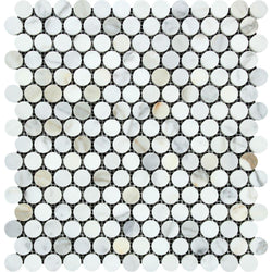 Calacatta Gold Marble 3/4 inch Penny Round Mosaic Tile - Budget Marble