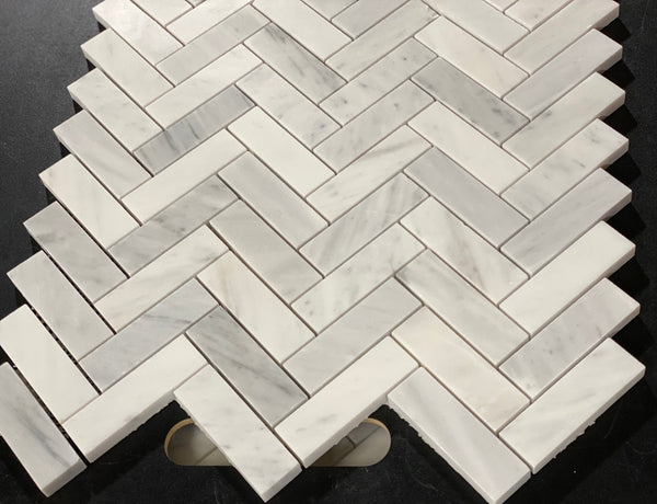 Carrara White Italian Carrera Marble 1x3 Herringbone Mosaic Tile Sample