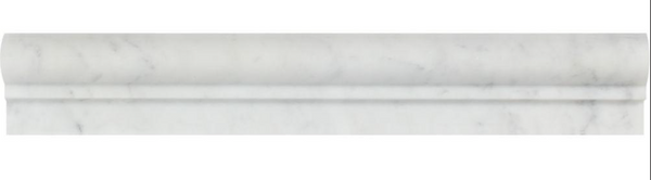 Carrara (Carrera) White Marble Chair Rail Molding Trim Edge Piece Sample - Budget Marble