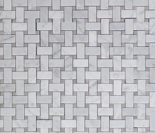Carrara White Italian Carrera Marble Basketweave Mosaic Tile with Grey-Blue Dots - Budget Marble