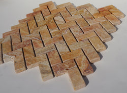 Scabos Travertine 1x2 Tumbled Herringbone Mosaic Sample - Budget Marble