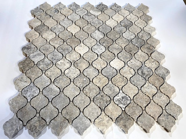 Silver Travertine 3x3 inch Lantern Arabesque Honed Marble Mosaic Tile