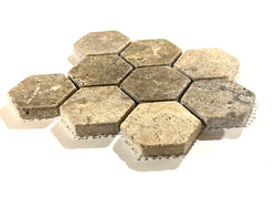 "Silver Travertine 2"" Hexagon Tumbled Mosaic Tile Sample"
