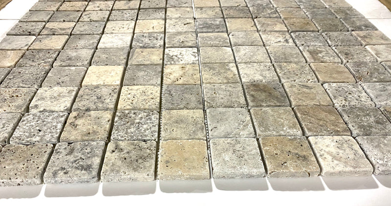 Silver Travertine 2 inch X 2 inch Square Tumbled Marble Mosaic Tile