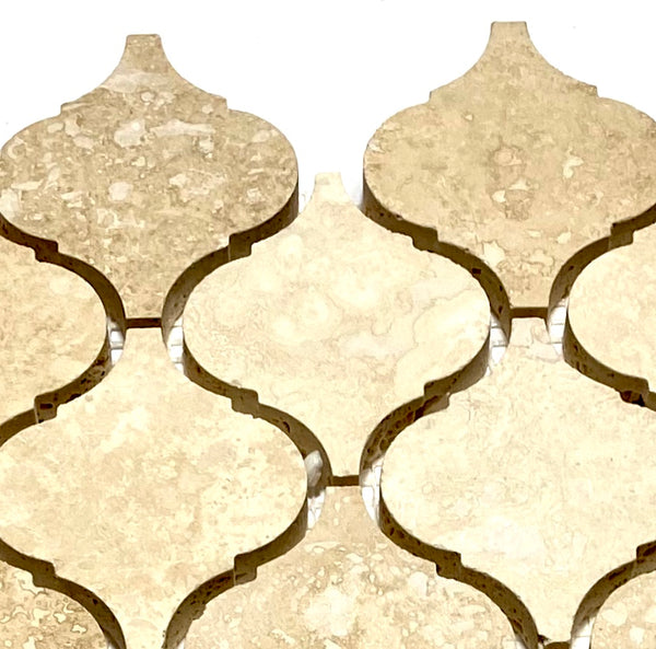 Sample Ivory Light Travertine Lantern Arabesque Mosaic Tile