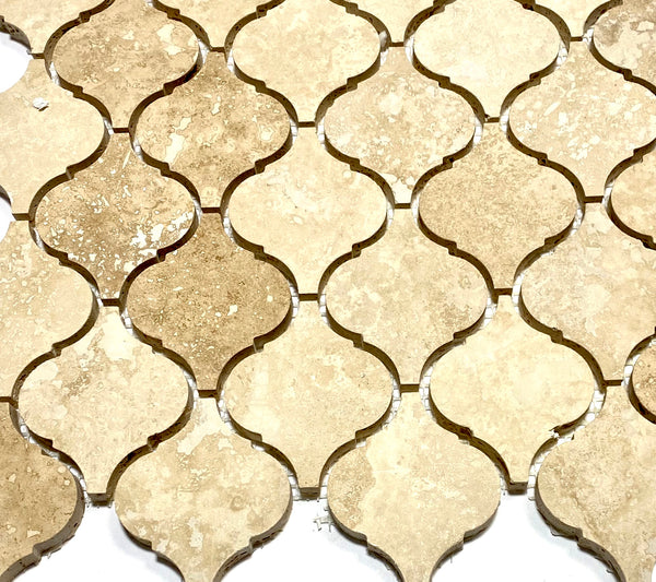Ivory Light Travertine Lantern Arabesque Mosaic Tile
