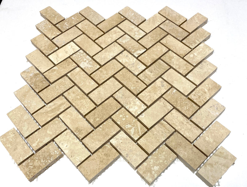 Sample Ivory Travertine 1x2 Filled and Honed Herringbone Mosaic Tile