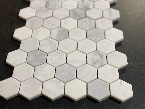 Carrara (Carrera) White Marble 2 Inch 2X2 Hexagon Mosaic Tile Sample