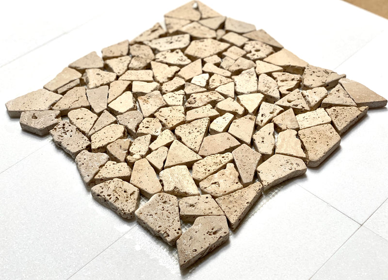 Ivory Light Travertine Pebble Stone Mosaic Tile