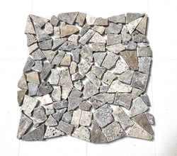 Silver Travertine Pebble Stone Mosaic Tile Sample
