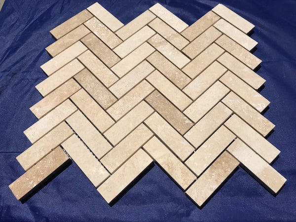 Ivory Travertine 1x3 Herringbone Honed and Filled Mosaic Tile - Budget Marble