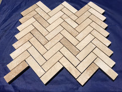 Ivory Travertine 1x3 Herringbone Honed and Filled Mosaic Tile Sample - Budget Marble