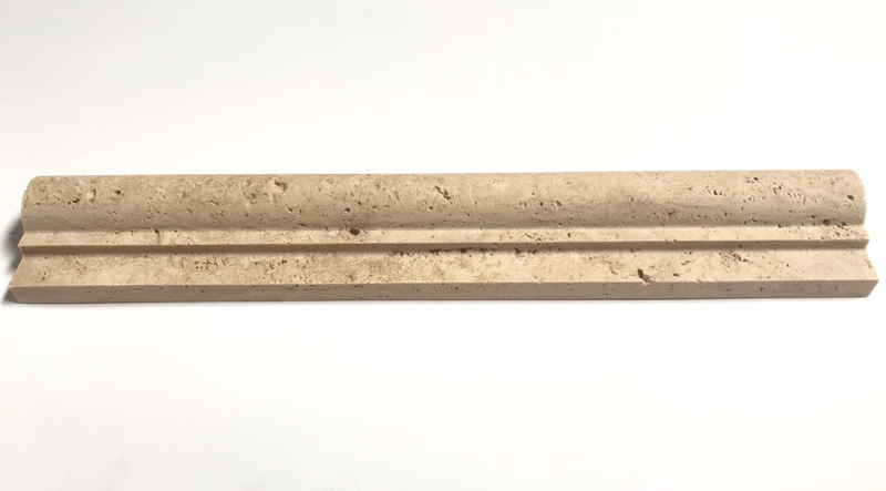 "Ivory Travertine 2""x12"" Chair Rail Molding Liner Trim - Budget Marble"