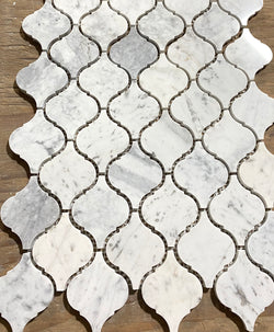 Carrara White Italian Carrera Marble Medium Arabesque Lantern Mosaic Tile