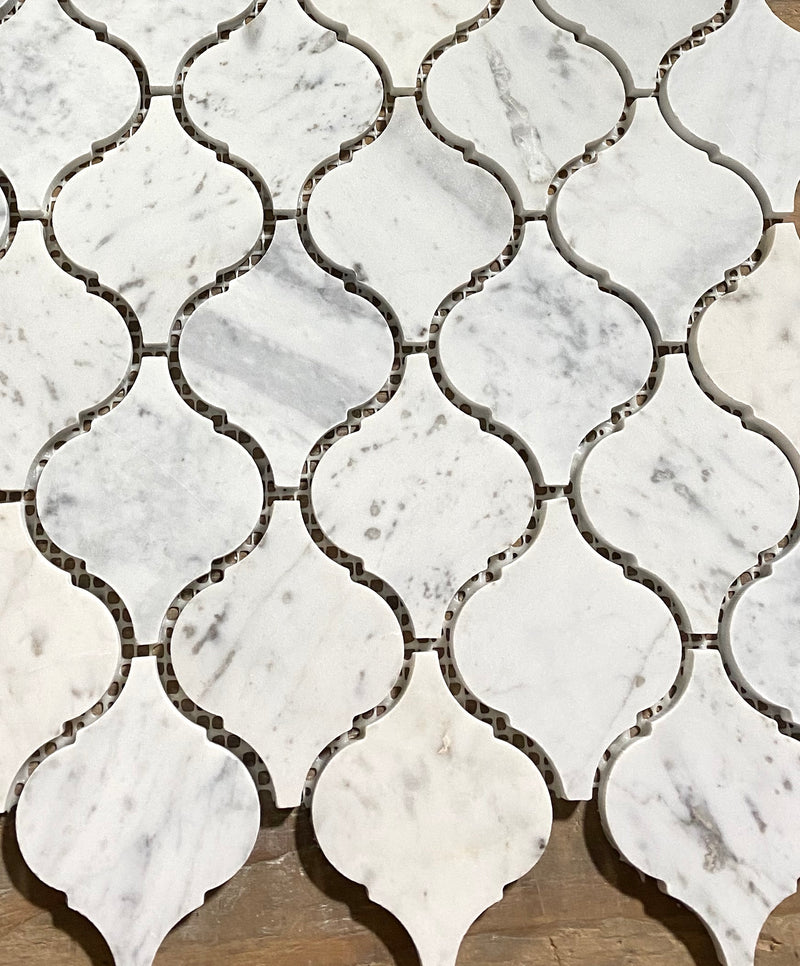 Carrara White Italian Carrera Marble Arabesque Lantern Mosaic Tile Sample