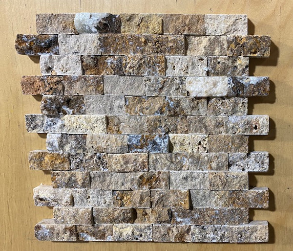 Scabos Travertine 1x2 Split Faced Marble Mosaic Tile