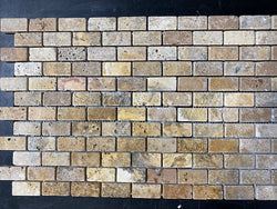 Scabos Travertine 1x2 Tumbled Brick  Mosaic Tile
