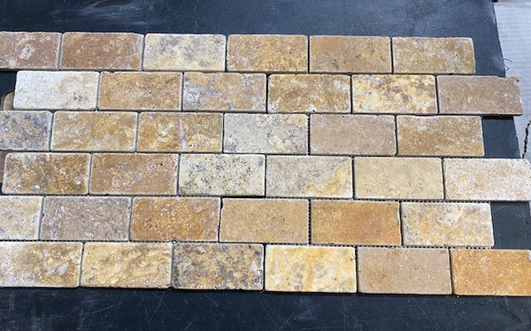 Scabos Travertine 2x4 Tumbled Subway Brick Marble Mosaic Tile