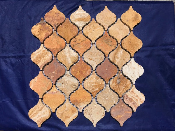 Scabos Travertine Lantern Arabesque Mosaic Tile Sample - Budget Marble