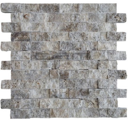 Silver Travertine 1x2 Split Faced Subway Brick Mosaic Tile Sample - Budget Marble