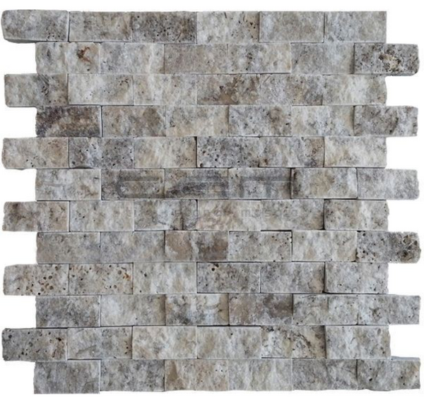 Silver Travertine 1x2 Split Faced Subway Brick Mosaic Tile - Budget Marble