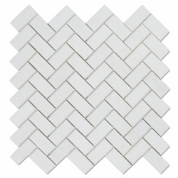 Thassos White Marble 1x2 Herringbone Mosaic Tile Sample - Budget Marble