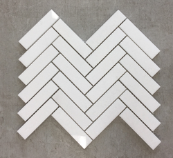 Thassos White Marble 1x4 Herringbone Mosaic Tile Sample - Budget Marble