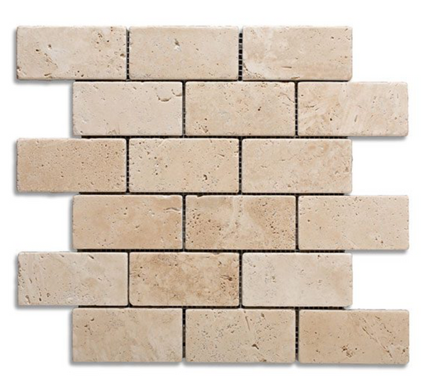 Ivory Travertine 2x4 Tumbled Subway Brick Mosaic Tile - Budget Marble