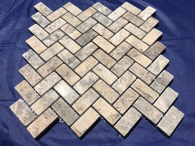 Silver Travertine 1x2 Herringbone Tumbled Mosaic Tile - Budget Marble
