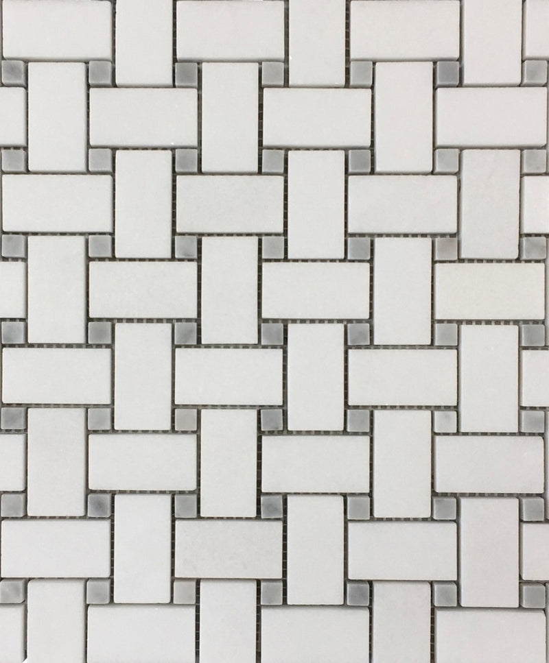 Thassos White Marble Basketweave Mosaic Tile with Gray Dots - Budget Marble