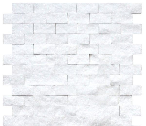 Thassos White Marble 1x2 Split Faced Subway Brick Mosaic Tile - Budget Marble