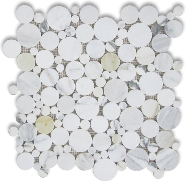 Calacatta Gold Calcutta Marble Bubble Round Paramount Mosaic Tile - Budget Marble