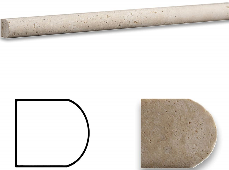 Ivory Travertine 3/4 x 12 Bullnose Pencil Liner Edge Trim Piece Molding - Budget Marble