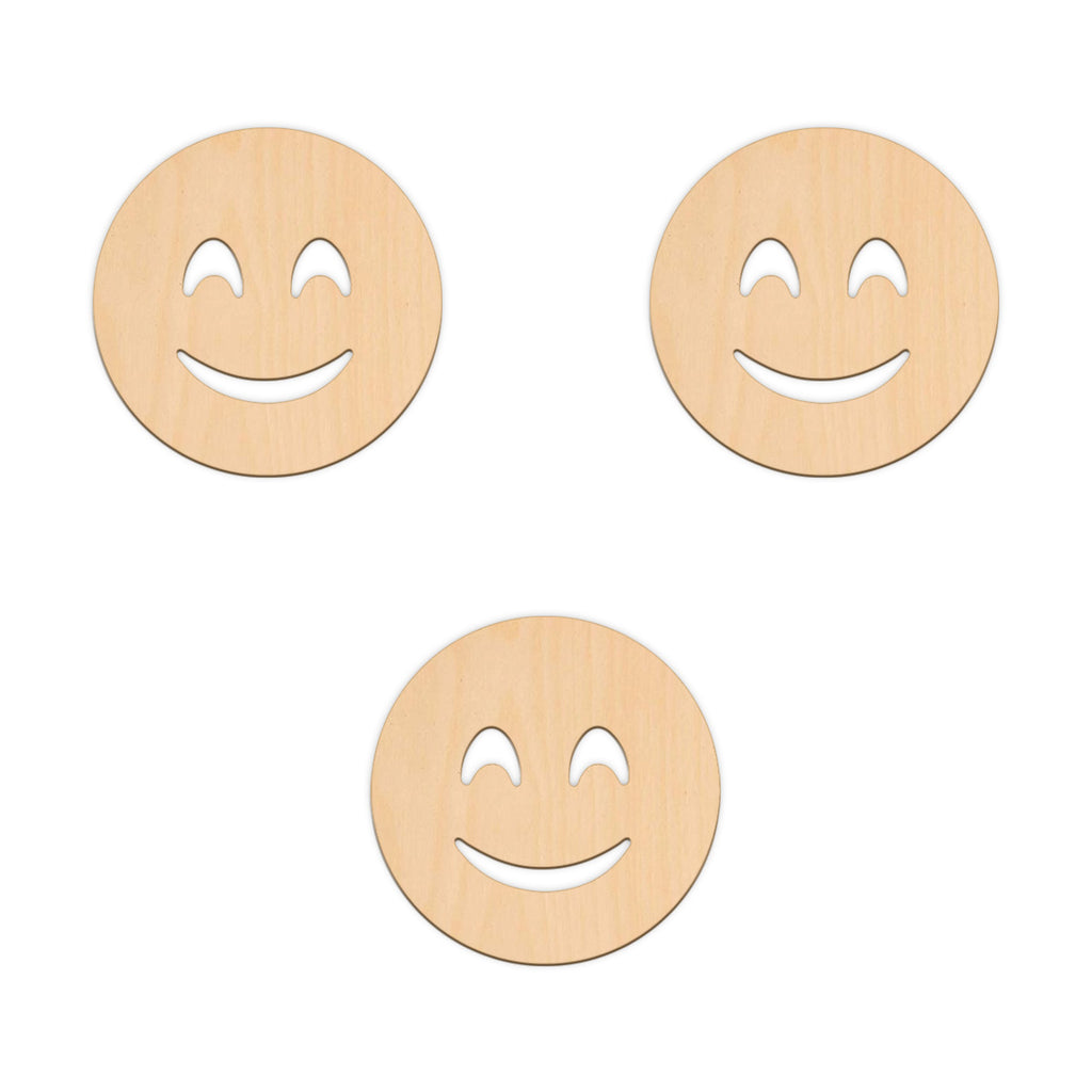 Beaming Face Emoji - 10cm x 10cm - Wooden Shapes