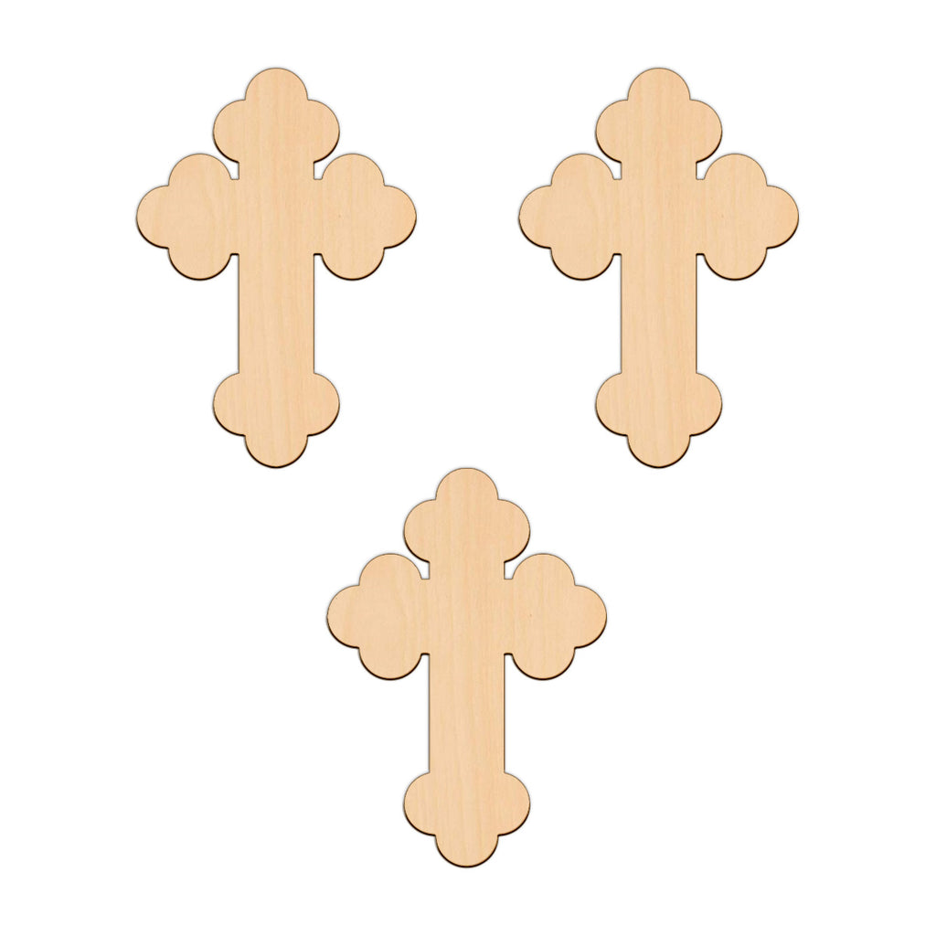 Budded Cross - 12.6cm x 9.4cm - Wooden Shapes