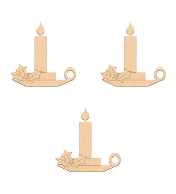 Candle (Style B) - 10cm x 10.2cm - Wooden Shapes