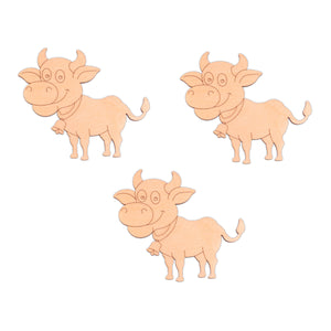 Cow (Style A) wooden shapes - 10cm x 8.9cm