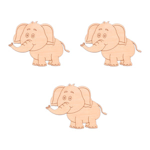 Elephant (Style B) wooden shapes - 10cm x 7.5cm