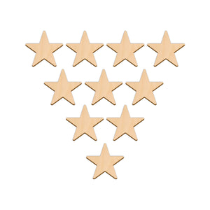 Five Point Star - 5.1cm x 5.1cm - Wooden Shapes