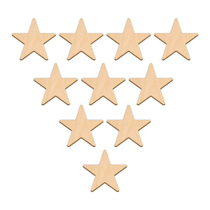 Five Point Star - 6.4cm x 6.4cm - Wooden Shapes