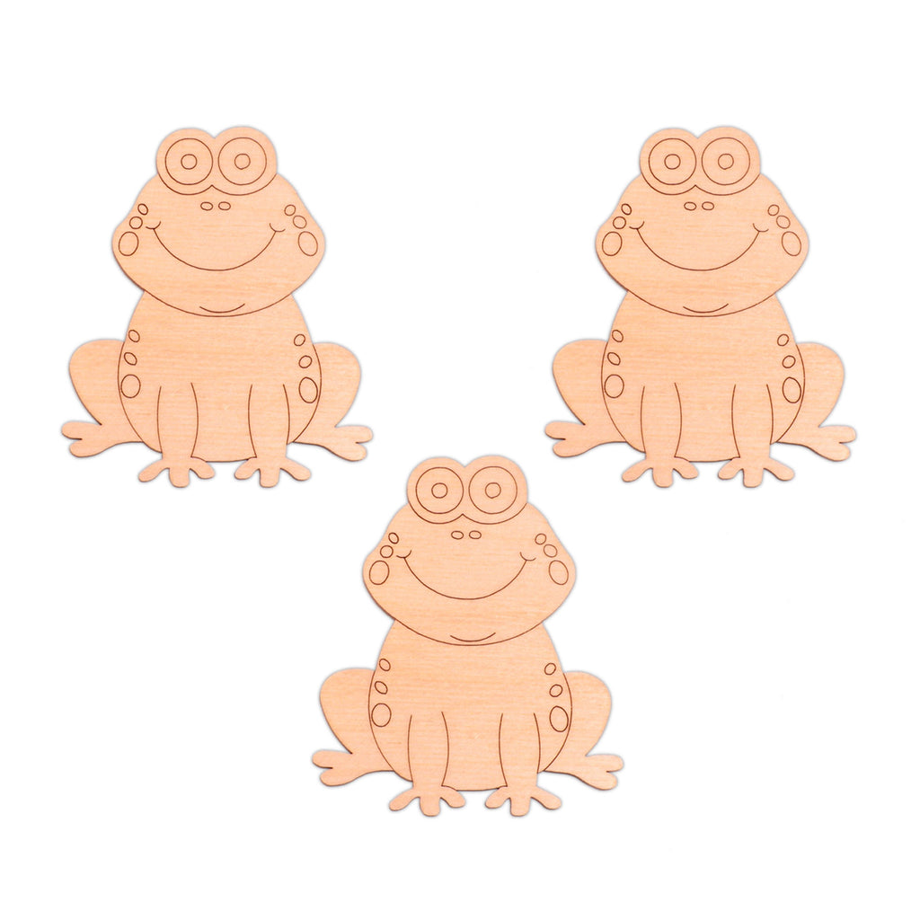 Frog (Style A) wooden shapes - 6.3cm x 7.5cm