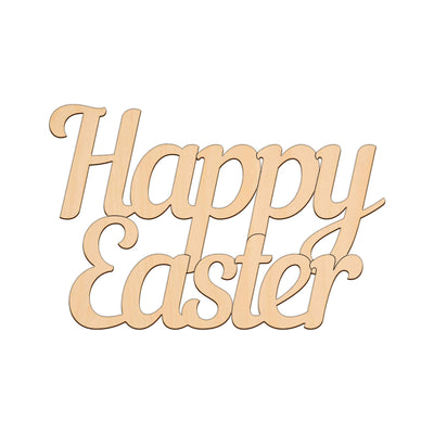 Happy Easter Sign (Style B) - 25cm x 16.7cm - Wooden Shapes